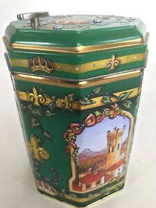 Germany-Embossed-Octagon-Tin-Cookie-Music-Box-Green-2007-We-Wish-You-A-Merry-Xma