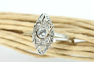 Art Deco Diamant Ring Gold 585 1 Diamant 4 Splitter 0,17 ct. SI2 I Größe 58