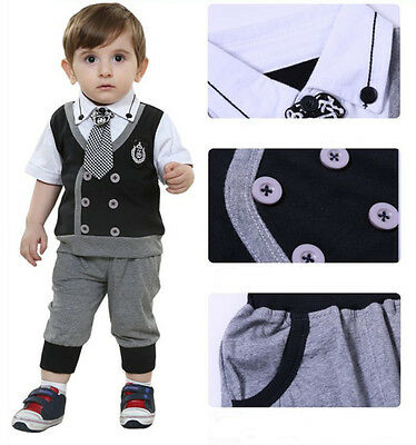 2pcs Baby Boys Kids Children Clothes Set Birthday Shower Gift Garment Top+Pants