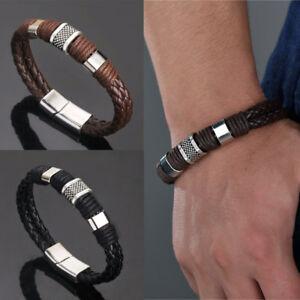 mens-stahl-titan-schmuck-punk-armband-magnetverschluss-aus-leder-armband