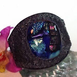 Armspange 9 Bangle Leder Dichroic Glass Dichroitisches Glas Handarbeit Unikat Im Sommer KüHl Und Im Winter Warm