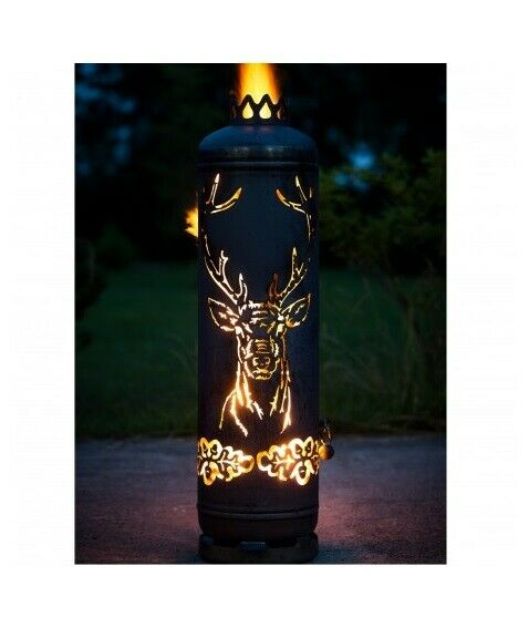 Stag Head and Edelweiss HUNTING FIREPLACE terassenfeuer Fire Tonne Precious Rust