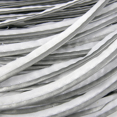 Reflective Silver Grey 10 mm Insertion Piping Flange Flanged Braid Trim