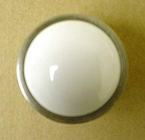 "085-03-3786  1 3//8/"" White Ceramic w// Satin Nickel Round Cabinet Drawer Knob"