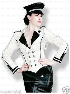 Latex-Rubber-0-45mm-Military-Uniform-Jacket-Catsuit-Coat-Suit