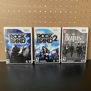 3-Games-Rock-Band-1-amp-2-amp-The-Beatles-Bundle-Nintendo-Wii-CIB-W-Manuals-Tested