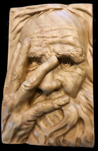 Wood Carving OLD MAN - 8.5 x 5.5 x 1.5 Wall Plaque/Free