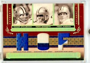 ROGER STAUBACH DORSETT AIKMAN 2006 NATIONAL TREASURES TRIOS HOF PATCH /25 💎 💎