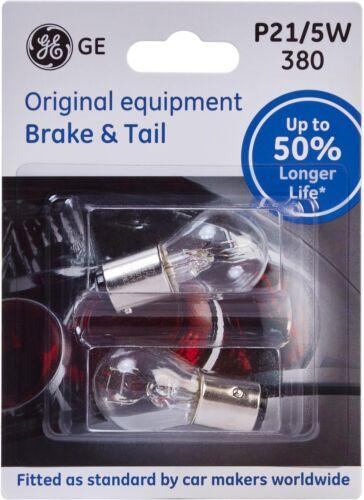 GE 380 P21//5W 12V Car Van Bulb 50/% Longer Life Brake Tail Lighting Twin Pack