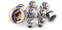 Pair Of Native American Girl Tattoo Plugs Sizes / Gauges (2g - 5/8) -