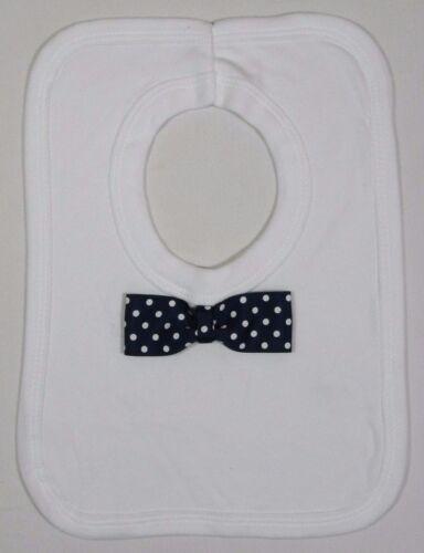 Baby Babies Boys Cotton White Blue Bow Tie Long Tie Over Head Feeding Bib Bibs