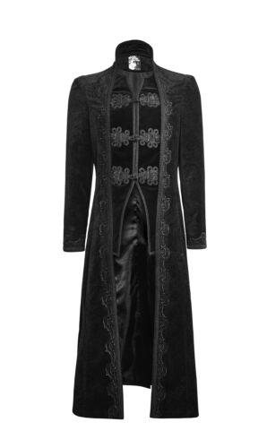 Punk Rock Mens Coat Jacket Long Black Velvet Gothic Steampunk Aristocrat Regency