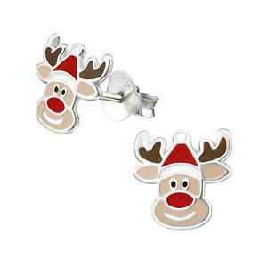 Ladies-Girl-Sterling-Silver-REINDEER-Christmas-Earrings-Red-Nose-Rudolph-Boxed
