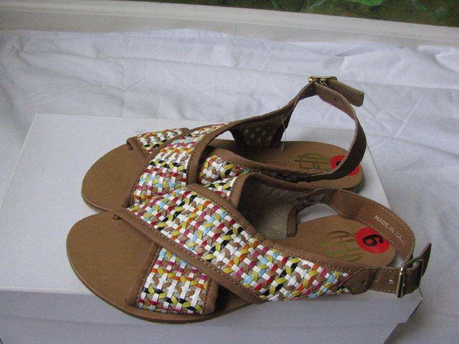 House of Hatlow 1960 Breaded braun Flat Sandal Made in  Größe 36,6 M NEW