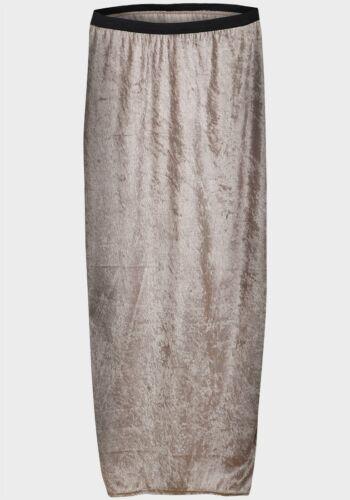 Ladies Crushed Velvet Skirt Maxi Full Length champagne size 8