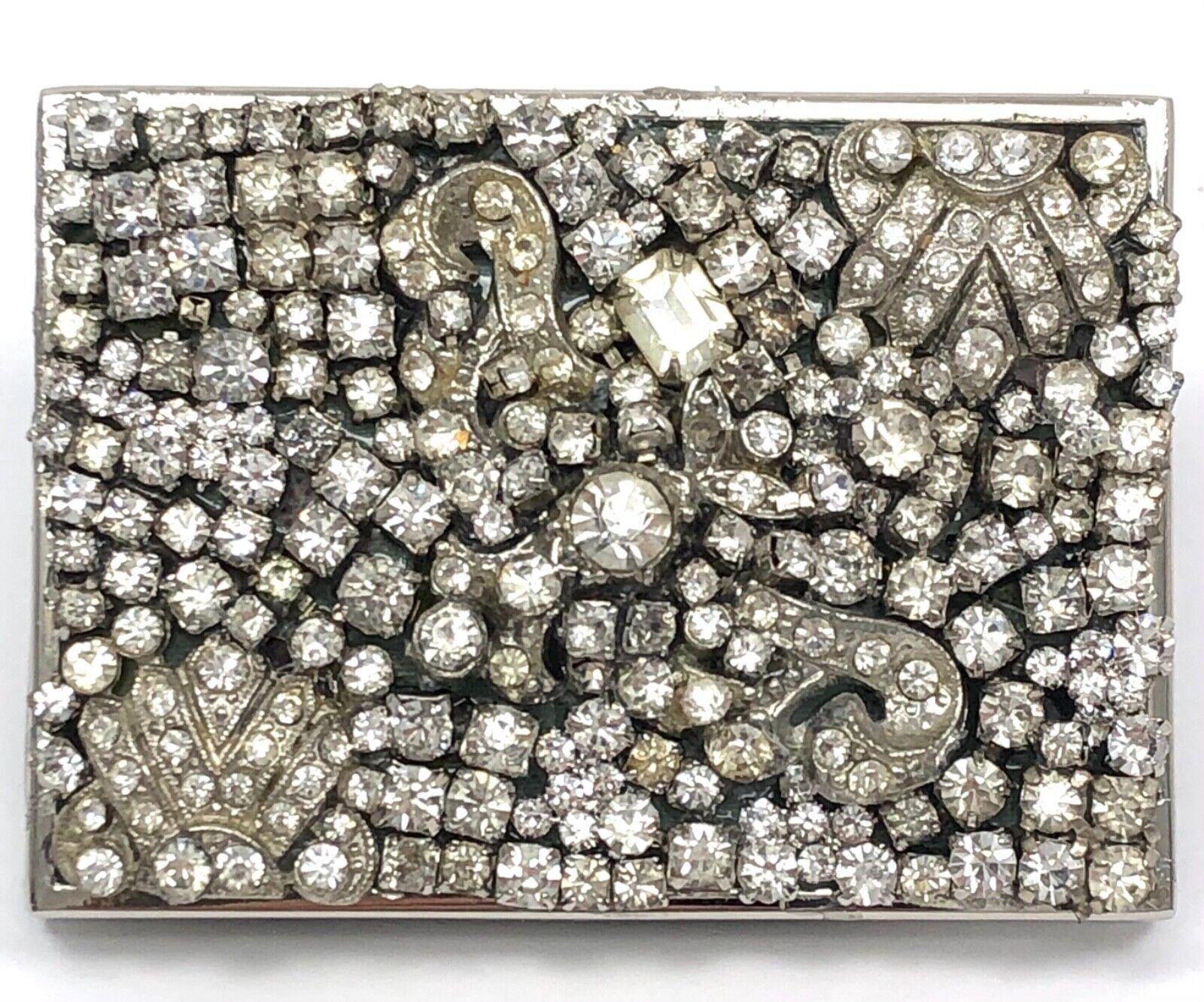 "Rhinestone ""Starry Night"" COLLAGE BELT BUCKLE Vintage Jewelry Bits #26~3""x2"""