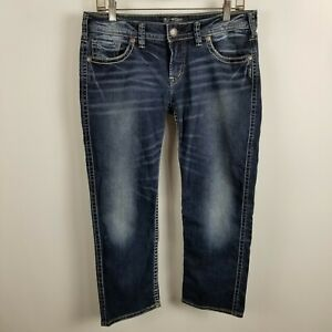 Silver-Aiko-Low-Rise-Capri-Womens-Dark-Wash-Blue-Jeans-Size-30
