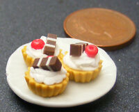 1:12 Ceramic Plate Of Cherry Cup Cakes Dolls House Miniature Accessory PL25