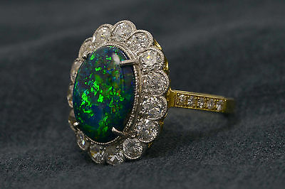 Lightning Ridge Black Opal Statement Engagement Ring Over 2 Carats Diamonds Halo