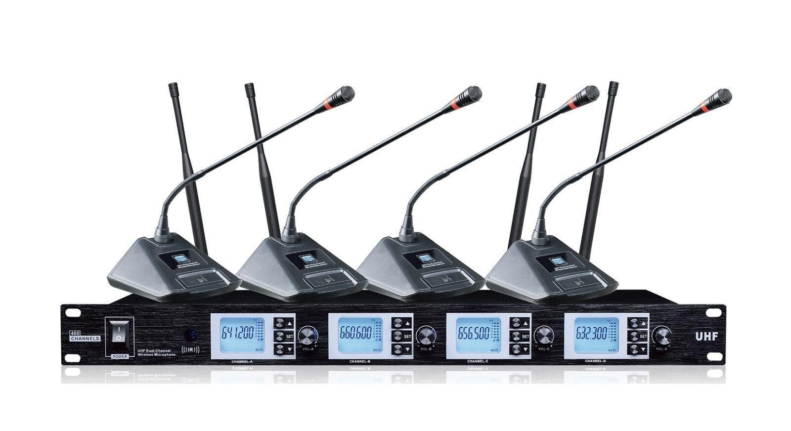 Conferencia Inalámbrico Uhf 4X100 canales lecturn reunión micrófono de de de cuello de cisne  Las ventas en línea ahorran un 70%.