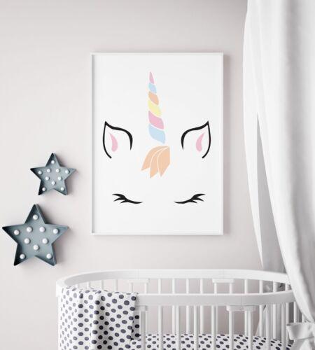 Unicorn Face Wand Rainbow Girls Kids Play Room Nursery Wall Art Print Decor Gift