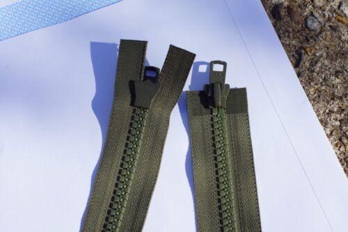 YKK VISLON 8VS GREEN TWO WAY OPEN ZIP various lengths Jacket Rpr HEAVY DUTY
