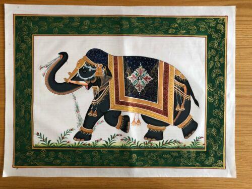 Original Indian Miniature Silk Cloth Painting India Queen Elephant Large