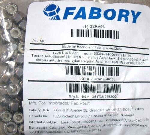 "# 22RV96 18-8 Stainless Steel FABORY 1//4/""-20 Nylon Insert Lock Nut 500 pcs"