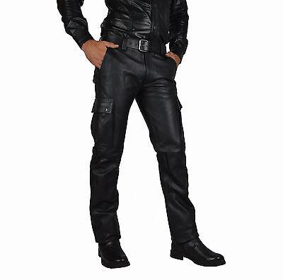 CARGO LEATHER TROUSERS SOFT AND PLAIN /CUIR PANTALON GAY PANTS/CombatTROUSERS