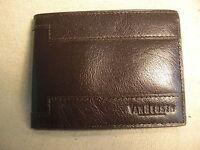 Van Heusen Mens Dark Brown Leather Bifold Wallet w/ 6 Credit Card Slots