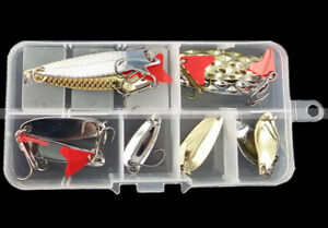 10pcs-Box-Assortiment-METAL-Fishing-Lures-Hook-spinner-spoon-Manivelle-appat-Tackle