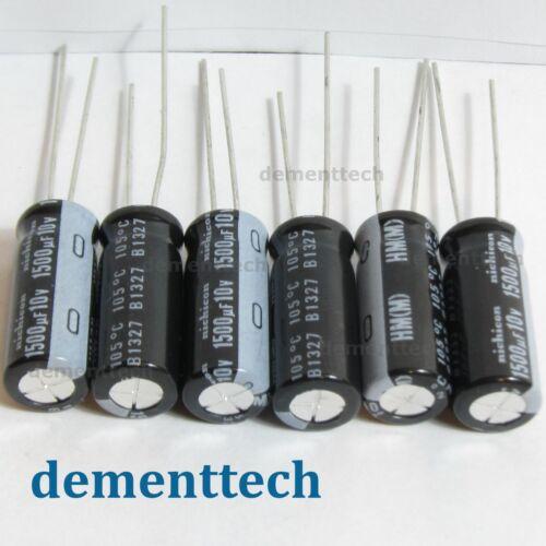 6x Nichicon HM 1500uF 10v radial capacitors caps 105C 8mm 8x20 Low-ESR Impedance
