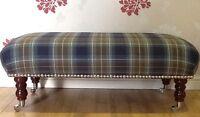 A Quality Long Footstool / Stool In Laura Ashley Tartan Midnight Fabric
