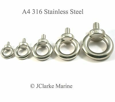 M12 A4 316 Marine Grade Stainless Steel M12 Lifting Eye Male Bolts DIN 580 Type