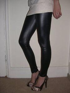 EXTRA-LONG-Leggings-Shiny-WET-LOOK-Black-Size-6-8-10-12-14-16-18-20-22-24-26-S-M