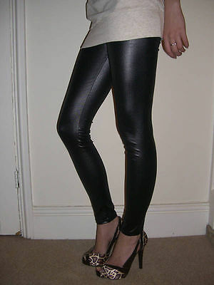 PETITE LENGTH Leggings Wet Look PVC Panel Pants Stretch SIZE 6 8 10 12 14 16 18