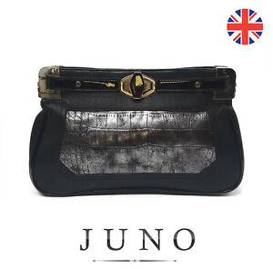 stampa donna Pochette serpente Juno sera grigio da nero con partito px548qw