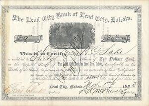 The-Lead-City-Bank-of-Lead-City-Dakota-vom-1-3-1883-Aktie-Nr-9