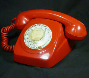 Vintage Red PMG 802 Rotary Dial Telephone Phone Colour 800 Series STC ColorFone