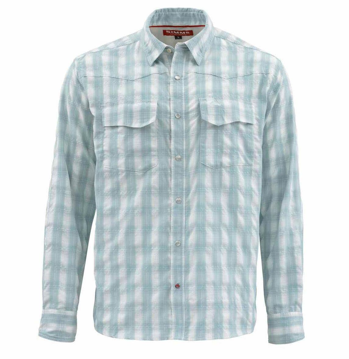 Simms gree cielo LS Shirt  Fog Plaid  Medium  Sale & gratuito US Shipping