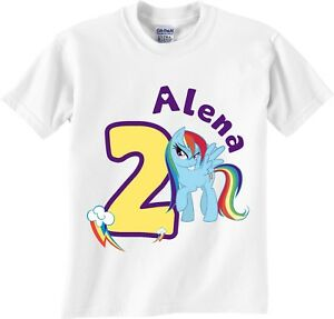 Image Is Loading Rainbow Dash Birthday Girl T Shirt Personalized Age