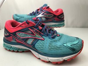 size 40 ef8ac b18c4 Details about Brooks Ravenna 6 Running Sneakers Size 8 women's Blue Pink  1201821B497