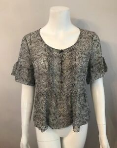28a7b828be Stunning J. Crew Black White Paisley Floral Silk Sheer Blouse Top ...
