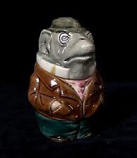 GENTLEMAN RAT with MONOCLE Tobacco Jar Antique Majolica Pottery Humidor, c.1880