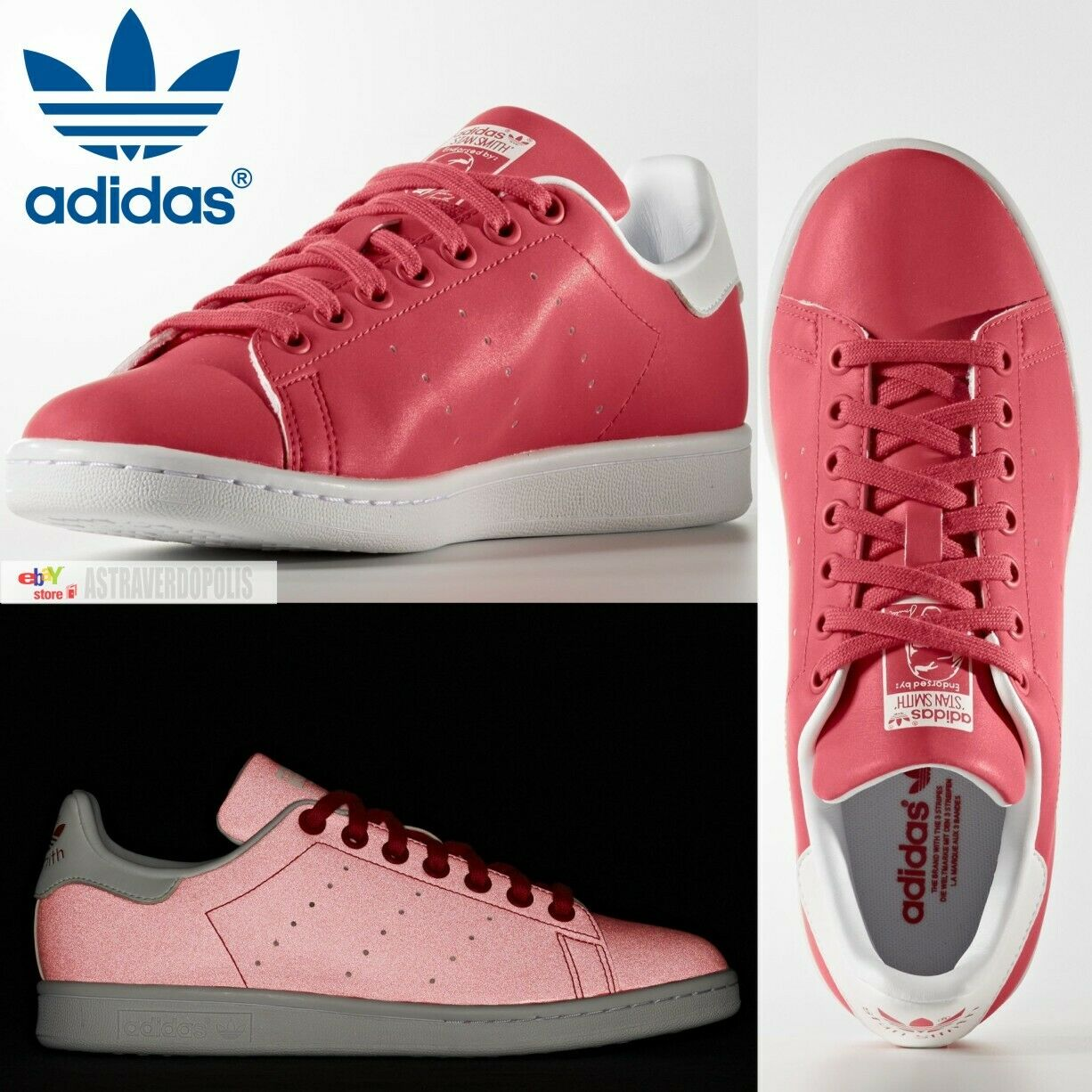 ADIDAS STAN SMITH SHOES ORIGINALS PINK COMFORT WOMENS REFLECTIVE WALKING BB5154