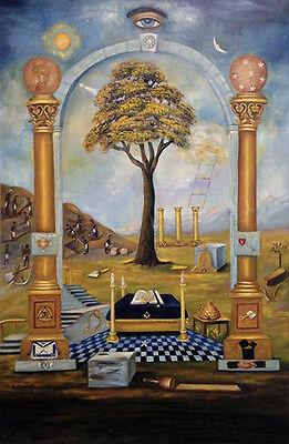Ancient Masonic Chart Symbols of Art Poster Print ring Freemasonry oil painting