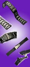 MASSIVES SCHWARZES UHREN ARMBAND IN IP-BLACK PLATTIERT NEU 26 MM