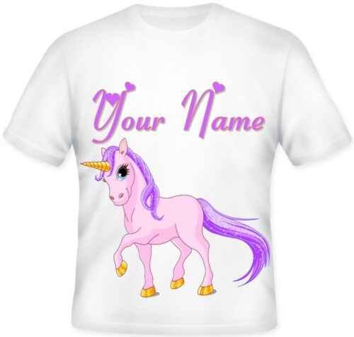 GIRLS KIDS Top Sublimation Personalised PINK PURPLE Magical UNICORN T Shirt PONY