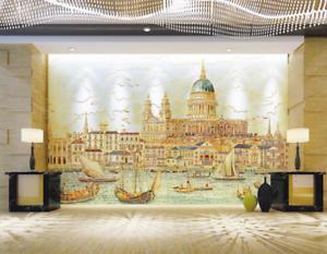 3D Wasser Schloss 742 Tapete Wandgemälde Tapete Tapeten Bild Familie DE Summer