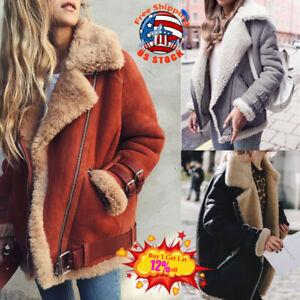 Winter-Womens-Suede-Wool-Coat-Motorcycle-Bike-Jacket-Warm-Faux-Fur-Parka-Outwear